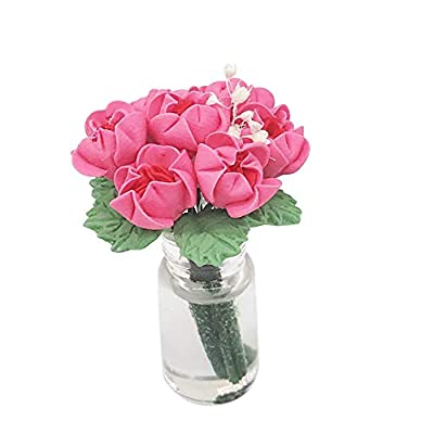 DIGOOD 1:12 Scale Mini Dollhouse Miniature Green Plant Rose in Pot Fairy Garden Accessory (Hot Pink): Clothing