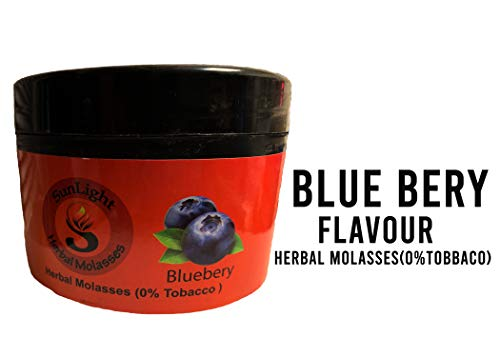 Hookah Flavors by Sunlight Charcoal - Non-Tobacco Hydro Herbal Molasses - 250g Container Hookah Shisha Pipe - Premium Quality Intense Flavor - No Nicotine, No Tobacco (Blueberry)