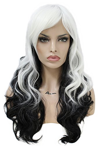 Black Wig Fancy Dress (Anogol Women's Fashion Curly Dark Roots Ombre Hair Wigs for Party Natural Wavy Lolita Harajyuku Layered Fancy Dress Black to White Cosplay Wig DM-708)