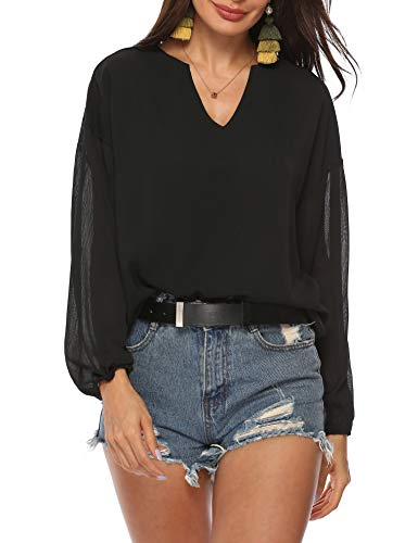 LYHNMW Womens Casual V Neck Button Down and Lose fit Blouse Cuffed Long Sleeves Solid Chiffon - Blouse Chiffon Sleeve Long