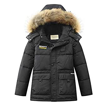 Amazon.com: LISUEYNE Boys Kids Winter Hooded Down Coat