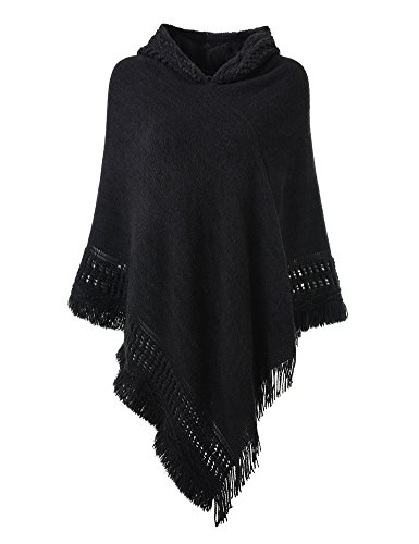 (Ferand Ladies' Hooded Cape with Fringed Hem, Crochet Poncho Knitting Patterns for Women, Black)