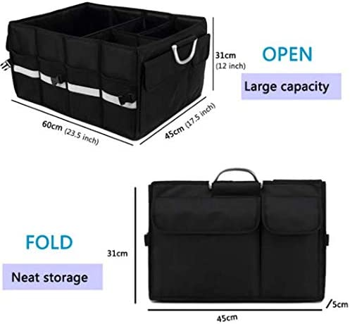 Customizable Multi Compartments Pick-ups and Everyday Vehicles Anti Abrasion Collapsible Portable Trunk Organizer w//Lid Large Excellent Space Saver Trucks Waterproof HD Material SUVs