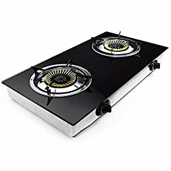 2 Burner Stove Gas Propane Range Tempered Ignition Camping Outdoor Glass Cooktop