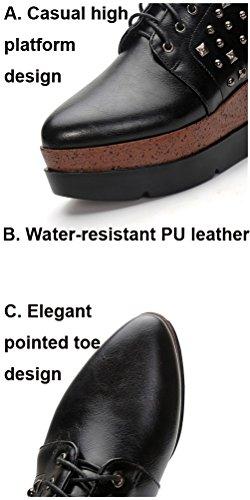 Negro Piel Cordones HiTime con de Zapatos Mujer Planos 4HqwxAT7xB