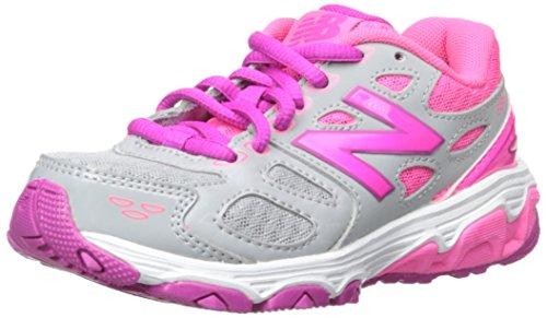 New Balance KR680 Youth Running Shoe (Little Kid/Big Kid),Grey/Pink,5 M US Big Kid