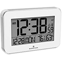 MARATHON CL030060WH Crystal Framed Atomic Wall Clock with Temperature & Humidity