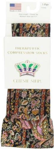 Celeste Stein Therapeutic Compression Socks, Black Versache, 15-20 mmhg, 1 Pair by Celeste - Store Versache