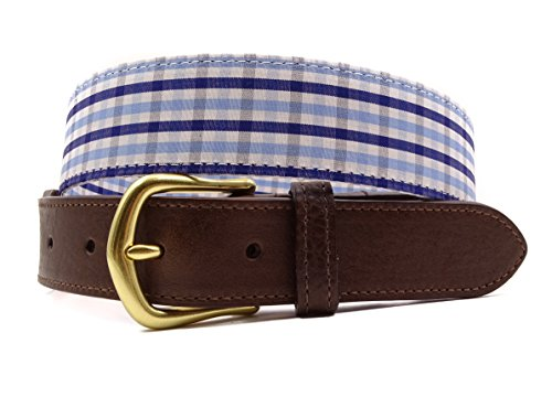 - F.H. Wadsworth Leather Tab Ribbon Belt (38, Blue Cotton)