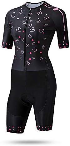 サイクルジャージ 女性のトライアスロンスーツ夏サイクリングスーツ自転車服水分吸湿性通気性UV保護 吸汗速乾高通気 (色 : ブラック, サイズ : S)