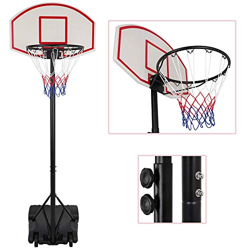 Nova Microdermabrasion Portable Basketball Hoop Stand Backboard System Adjustable-Height W/Wheels 5+ Years Kids Goal Indoor Outdoor 6.9ft (Black) by Nova Microdermabrasion (Image #1)