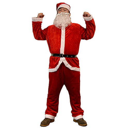 (Red Men's Santa Suit Adult Simply Santa Claus Costume Christmas Santa Outfit for Christmas Party Cosplay)