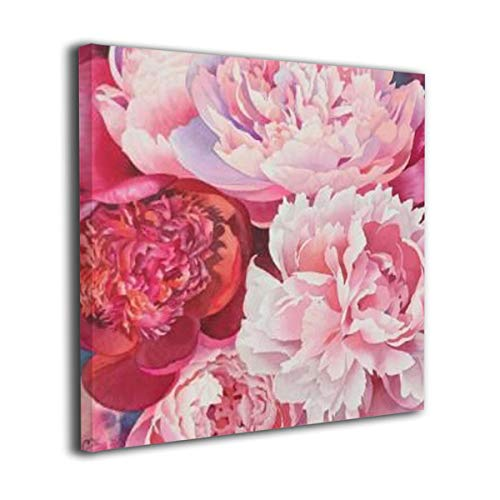 ELKFOREST Peony Painting Square Frameless Painting Abstract Oil Paintings On Canvas Wall Art Ready to Hang Bedroom Painting Home Decoration Painting Canvas Prints for Home Decorations