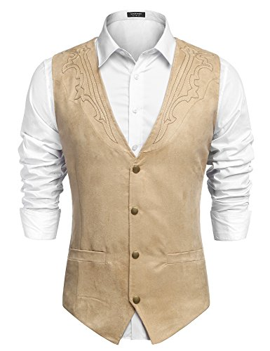 COOFANDY Men's Suede Leather Suit Vest Casual Western Vest Jacket Slim Fit Vest Waistcoat (Medium, Brown-4)
