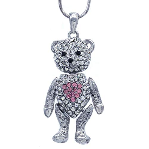 Soulbreezecollection Valentine's Day Teddy Bear Necklace Red Heart Pendant for Mom (Pink)