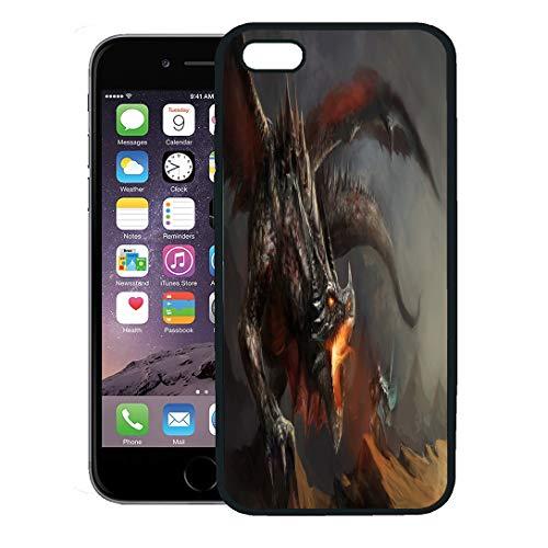 Semtomn Phone Case for iPhone 8 Plus case,Fire Fantasy Scene Knight Fighting Dragon Monster Warrior Battle iPhone 7 Plus case Cover,Black