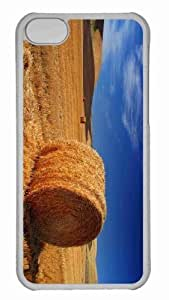 Customized iphone 5C PC Transparent Case - Straw Bale Autumn Personalized Cover