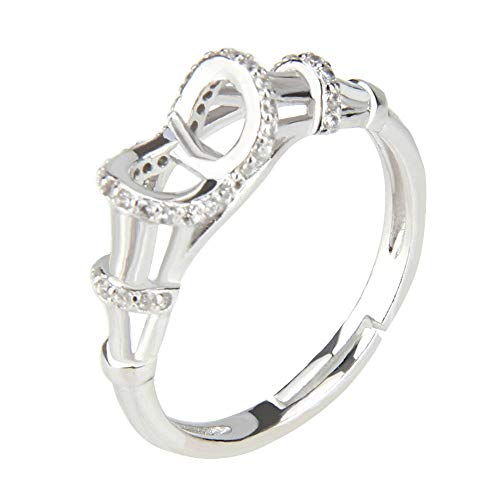 NY Jewelry 925 Sterling Silver Bamboo Design Ring for Pearl, Adjustable Pearl Ring Fittings for Women DIY Jewelry ()