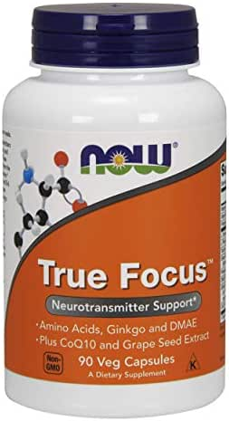 NOW Supplements, True Focus™ with Amino Acids, Ginkgo and DMAE + CoQ10 and Grape Seed Extract , 90 Veg Capsules