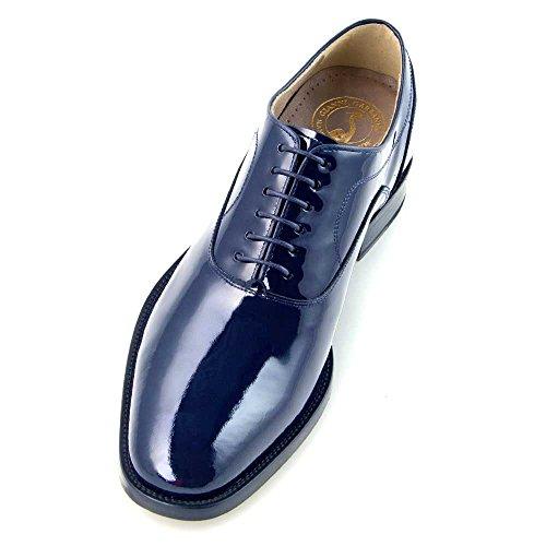 Masaltos Scarpe con Rialzo per Uomo Che Aumentano l'Altezza Fino a 7 cm. Fabbricate in Pelle. Modello Charol Blu