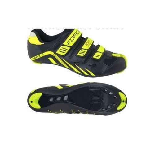 Force - Zapatillas de ciclismo de carretera con velcros, color negro y amarillo neón, Unisex - Adulto, amarillo FLUO, 44