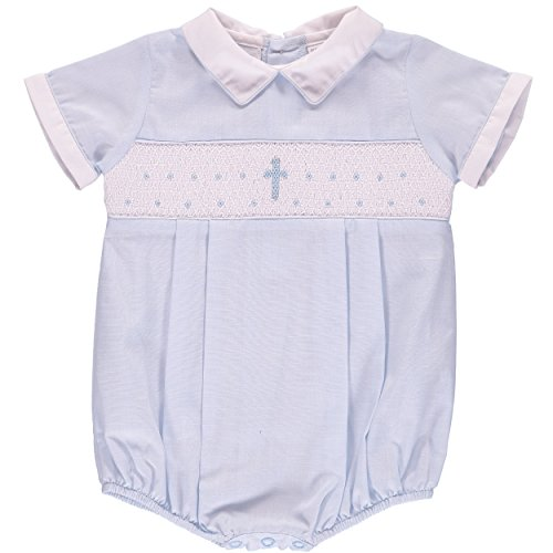 (Baptism Outfit for Boy Hand Smocked Blue Cross Romper - White Collar, 6M)