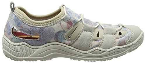 Rieker L0561 Women Low-Top, Baskets Basses Femme Blanc (Ice/Blau-multi/Beige / 80)