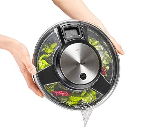 (Gefu Salad Spinner Speed Wing, Drainer, Bowl, Sieve, Stainless Steel Design, Ø 27 cm, 28160)