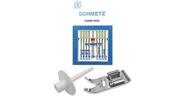ZickZackNaehmaschine Schmetz Agujas Combi de Caja + Soporte para ...