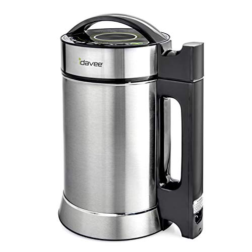 Idavee Brand - PrestoPure IAE15-1.9 Liter Automatic Hot Soy Milk (Almond, Rice, Quinoa Milk) Soup, Porridge & Cold Juice Maker - 2 Layer Stainless Steel - Recipe Booklet