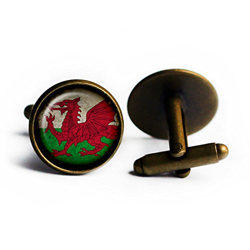 Wales Welsh Flag Antique Bronze Cufflinks