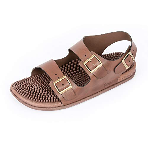 - Revs Acupressure & Reflexology Massage Trek Sandals for Men & Women. Shock Absorbing Comfortable Cushion Footbed & Arch Support (23cm / Women US 5-5.5 / Men US 4-4.5, Brown)