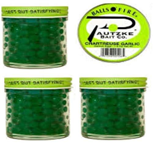 Pautzke Bait Company Balls O' Fire Chartreuse Garlic, Salmon Eggs 3-1 oz (3 Pack)