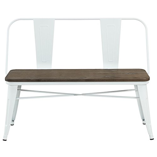 Raleigh, Rustic Industrial, Metal and Wood, Dining Bench (Indoor, Outdoor, Entryway, Patio, Garden) with Back in White (Outdoor Raleigh Dining)