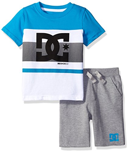 French Terry Short Set (DC Apparel Little Boys 2 Piece Jersey Logo Tee With French Terry Short Set, Blue, 4)