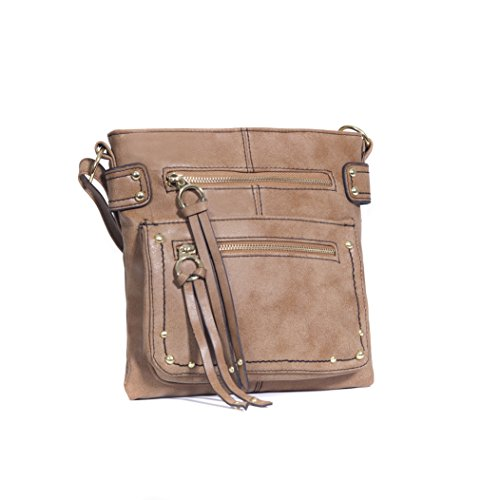 tan-distressed-faux-leather-three-zippered-crossbody-bag-studded-grommet-purse