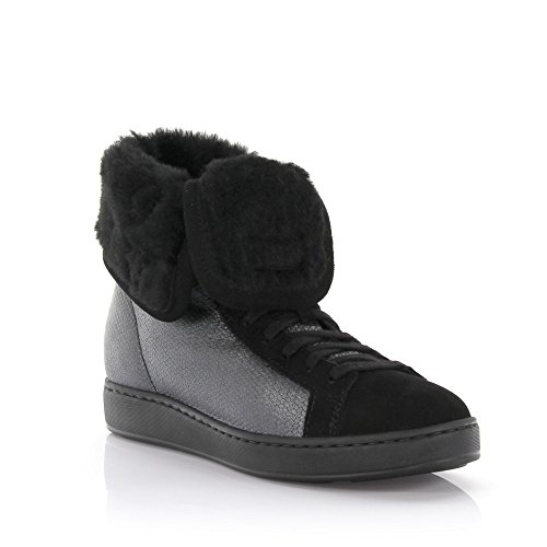 Santoni Sneakers Hoge Leren Grijs Afgewerkte Suede Zwart Lamsleer