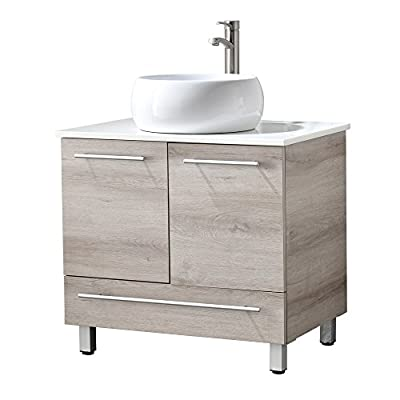 """RESSORTIR  bathroom vanity Oak - Size: 30"""" Wide by 19"""" Deep by 29"""" Tall FAUCET AND POP UP DRAIN NOT INCLUDE Constructed in laminate composite wood with 2 door and 1 drawer - bathroom-vanities, bathroom-fixtures-hardware, bathroom - 41R4TusTdjL. SS400  -"""