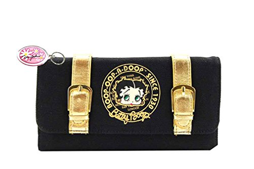Betty Boop Tri-fold Microfiber Wallet with Detachable Checkbook (Black/Gold)