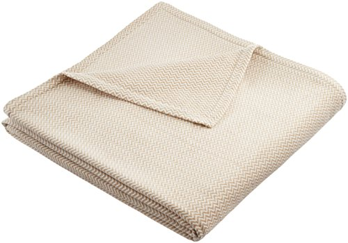 Pinzon Plush Cotton Chevron Blanket - Full/Queen, Cream
