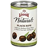 Lindsay Naturals Black Ripe Olives Pitted In Water & Sea Salt Can Drained Weight 6 OZ (Pack of 24)