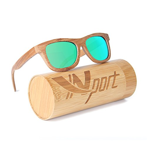 Ynport Mens/Womens Polarized Full Charcoal Bamboo Frame Classic Wooden Coated Sunglasses, vintage Eyewear, Floating - Wooden Glasses