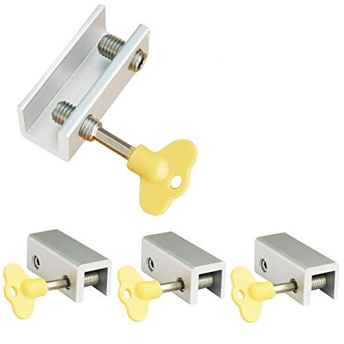 4 Pieces Adjustable Sliding Double Window Locks Stops Aluminum Alloy Door Frame Security Lock with Keys