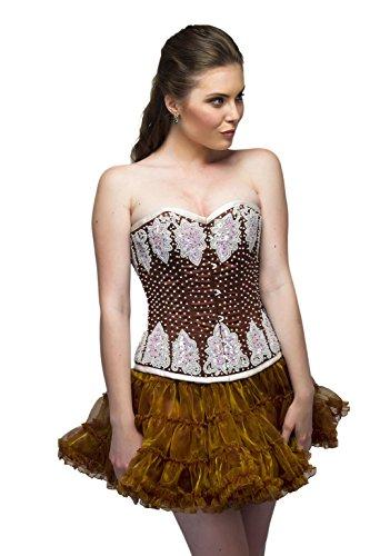 欲求不満蓮不安Brown Satin White Sequins Gothic Burlesque Waist Cincher Bustier Overbust Corset