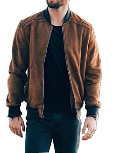 Zip Front Leather Coat - 5