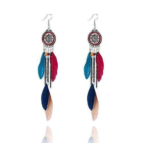 Dreamcatcher Feather Earrings (ANNE & SOUL Alloy Dream Catcher Long Feather Leaf Dangle Earring (Colorful))