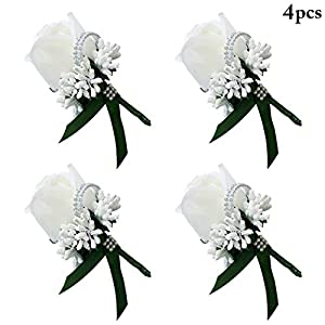 FunPa 4PCS Wedding Boutonniere Rhinestone Berries Wedding Corsage Party Flower Corsage 34