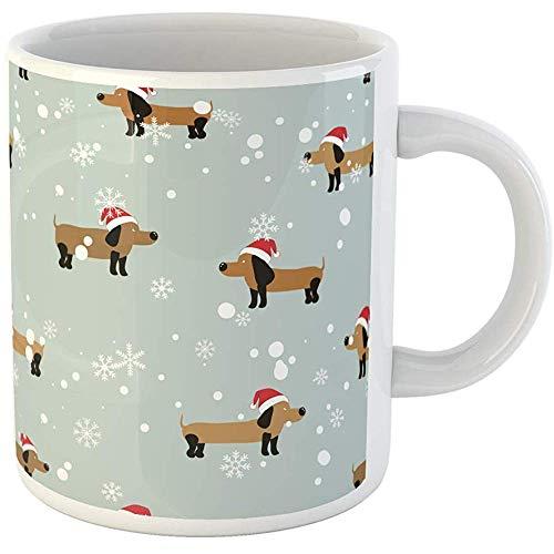 - 11oz Coffee Mugs Tea Cups Gifts Red Dachshund Dog Pattern New Year Snowflakes Santa Hat Animal Ceramic Coffee Mugs Tea Cup Souvenir