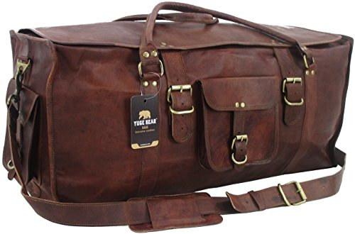 Yuge Bear 28'' FS1 Vintage Style Genuine Leather Oversized Flap Duffel Travel Bag by Yuge Bear