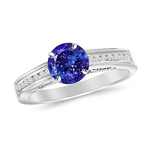 14K White Gold Channel Set Round Diamond Engagement Ring with a 1 Carat Tanzanite AAA Heirloom Center Stone by Houston Diamond District